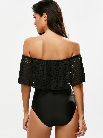 Laser Cut Off Shoulder Ruffle Swimsuit - BLACK M Mobile