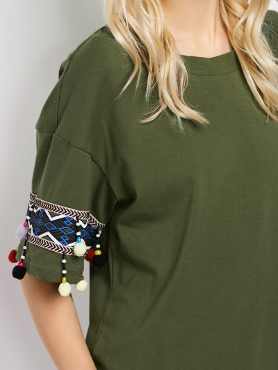 Embroidered Pompom Sleeve Tee - ARMY GREEN L Mobile