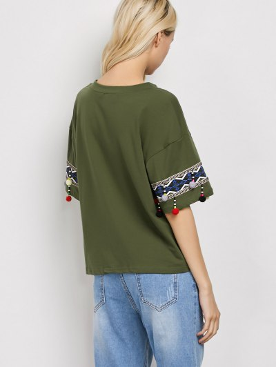 Embroidered Pompom Sleeve Tee - ARMY GREEN S Mobile