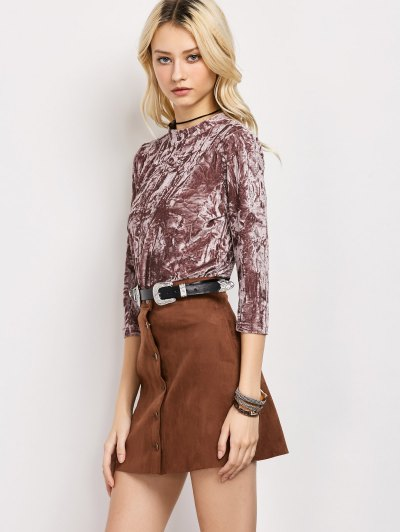 Crushed Velvet Mock Neck Top - COLORMIX S Mobile
