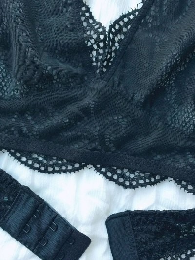 Scalloped Embroidered Bra - BLACK M Mobile