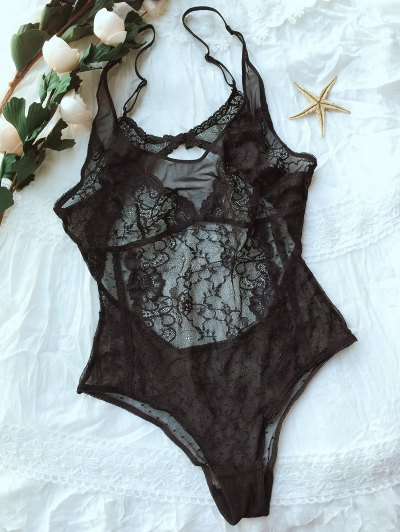 Lace Panel See-Through Bodysuit - BLACK M Mobile