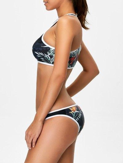 Racerback Leaf Print Bikini Set - BLACK M Mobile