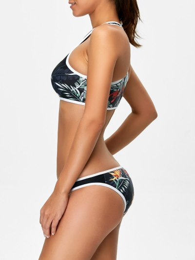 Racerback Leaf Print Bikini Set - BLACK S Mobile