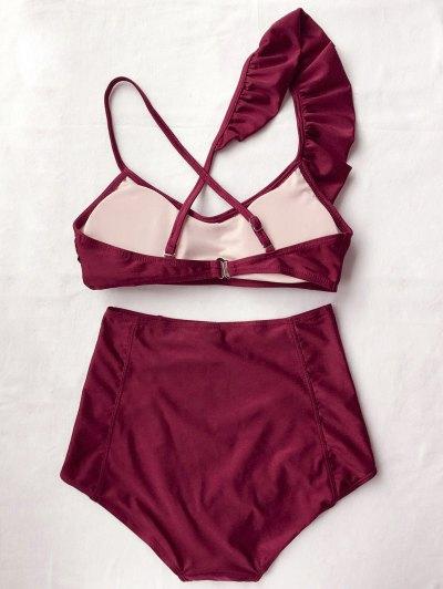 High Waisted Asymmetric Ruffle Bikini - BURGUNDY L Mobile