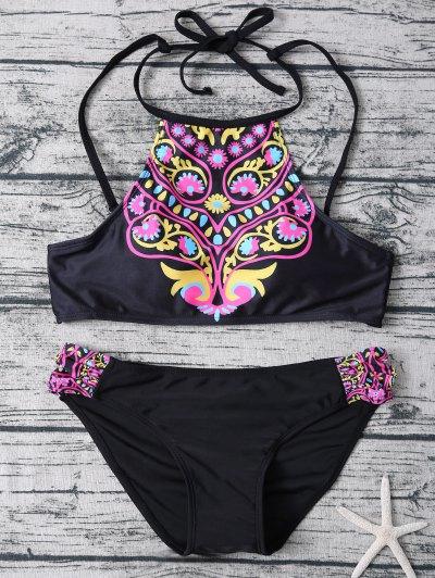 High Neck Bikini Top and Bottom - BLACK S Mobile