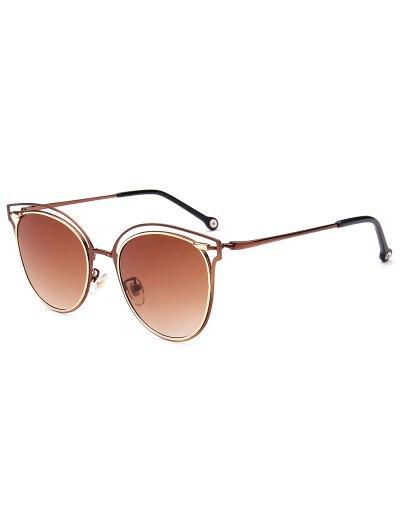 Double Rims Cat Eye Sunglasses - TEA-COLORED  Mobile