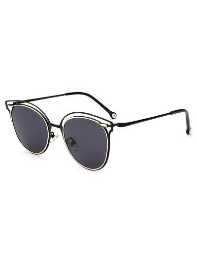 Double Rims Cat Eye Sunglasses - BLACK  Mobile