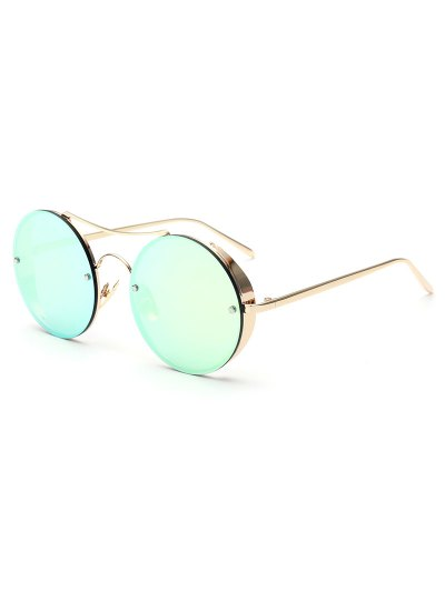 Chunky Round Frame Mirrored Sunglasses - LIGHT GREEN  Mobile