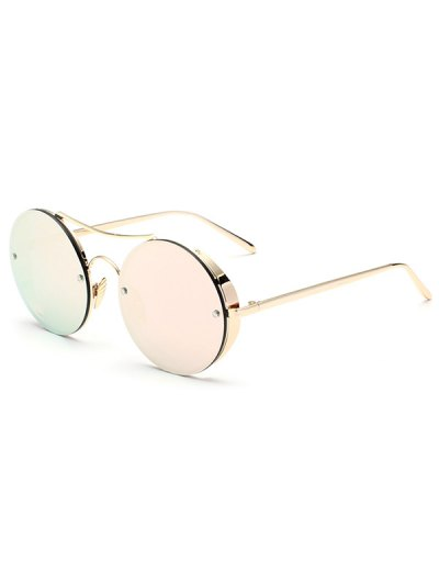 Chunky Round Frame Mirrored Sunglasses - SHALLOW PINK  Mobile