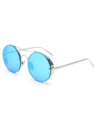 Chunky Round Frame Mirrored Sunglasses - ICE BLUE  Mobile
