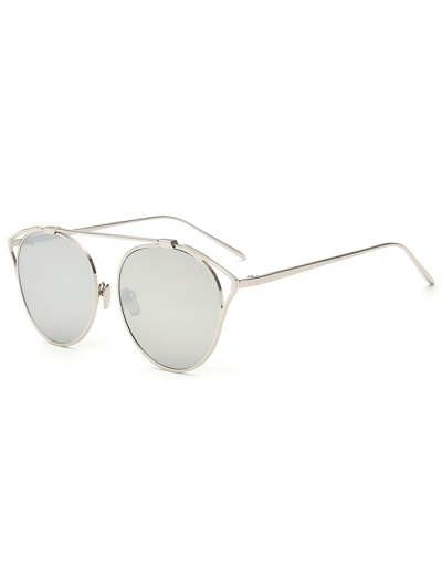 Hollow Out Metal Cat Eye Mirrored Sunglasses - SILVER  Mobile