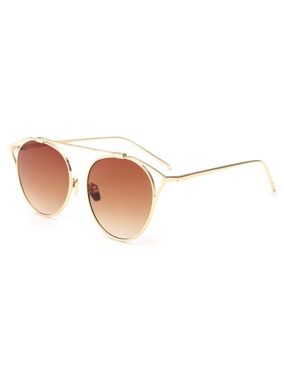 Hollow Out Metal Cat Eye Sunglasses - TEA-COLORED  Mobile
