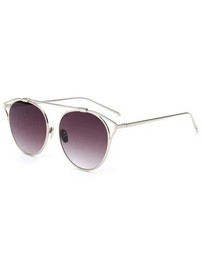 Hollow Out Metal Cat Eye Sunglasses - DEEP PURPLE  Mobile
