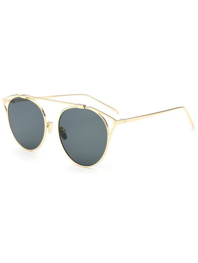 Hollow Out Metal Cat Eye Sunglasses - DEEP GRAY  Mobile
