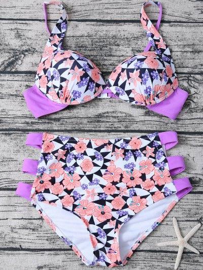 Geometric Floral Print High Waisted Bikini - MULTICOLOR S Mobile