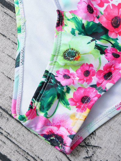 Floral Print Bow Bikini - FLORAL M Mobile