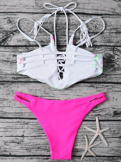 Lace Up Floral Print Bikini Set - ROSE + WHITE L Mobile