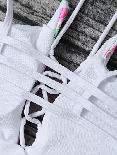 Lace Up Floral Print Bikini Set - ROSE + WHITE M Mobile