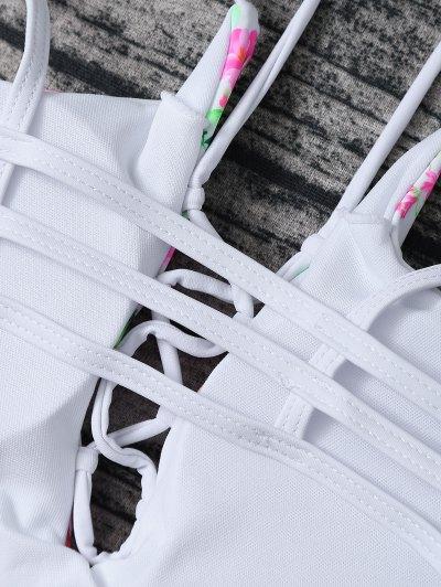 Lace Up Floral Print Bikini Set - ROSE + WHITE S Mobile