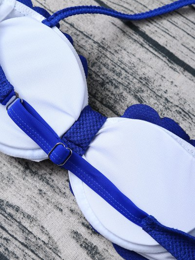 Scalloped Three Piece Swimwear - SAPPHIRE BLUE XL Mobile