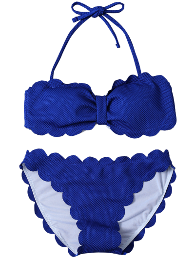 Scalloped Three Piece Swimwear - SAPPHIRE BLUE L Mobile