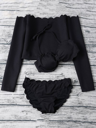 Scalloped Three Piece Swimwear - BLACK XL Mobile