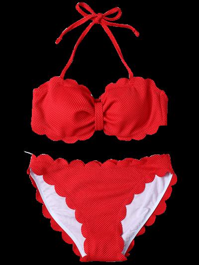 Scalloped Three Piece Swimwear - RED XL Mobile