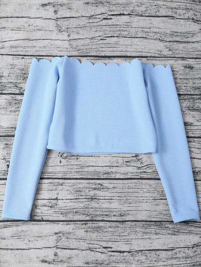 Scalloped Three Piece Swimwear - LIGHT BLUE L Mobile