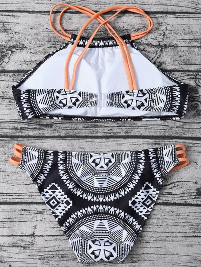 Strappy Aztec Print High Neck Bikini - WHITE AND BLACK S Mobile