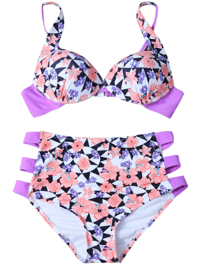 Geometric Floral Print High Waisted Bikini - MULTICOLOR L Mobile