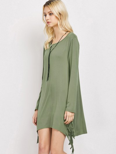 Long Sleeves Fringed Shift Dress - ARMY GREEN XL Mobile