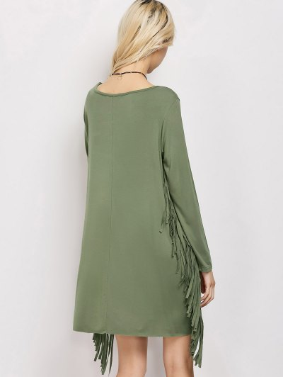 Long Sleeves Fringed Shift Dress - ARMY GREEN L Mobile