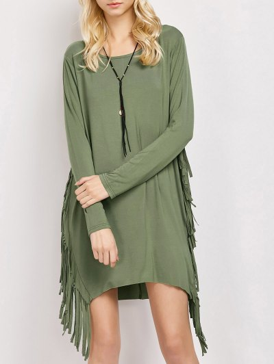Long Sleeves Fringed Shift Dress - ARMY GREEN M Mobile