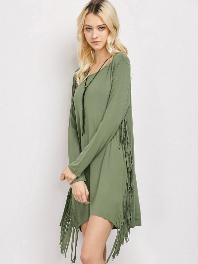 Long Sleeves Fringed Shift Dress - ARMY GREEN S Mobile
