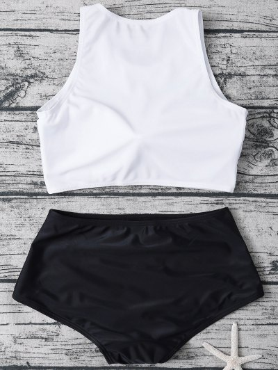 High Neck Boyshort Bikini - WHITE AND BLACK M Mobile