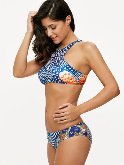 Ethnic Printed Sports Bikini Set - BLUE S Mobile