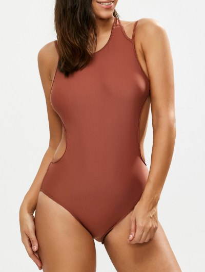 Strappy High Neck Caged Swimsuit - CLARET XL Mobile