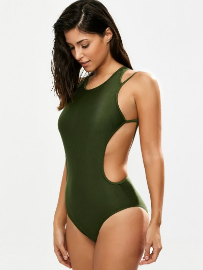 Strappy High Neck Caged Swimsuit - ARMY GREEN XL Mobile