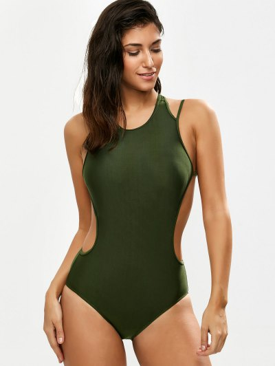 Strappy High Neck Caged Swimsuit - ARMY GREEN L Mobile