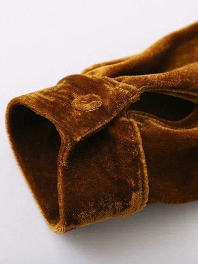 Velvet Patch Pocket Shirt - GOLD BROWN M Mobile