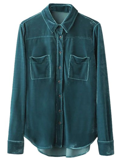 Velvet Patch Pockets Shirt - PEACOCK BLUE L Mobile
