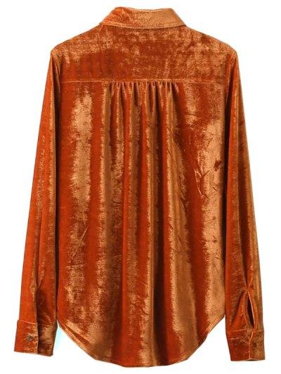 Velvet Patch Pockets Shirt - ORANGE RED L Mobile
