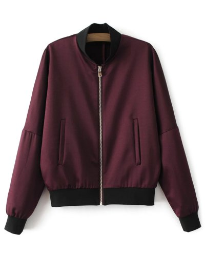 Lightweight Zip Bomber Jacket - WINE RED L Mobile