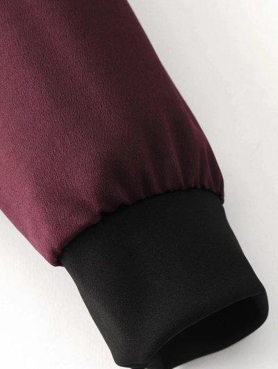 Lightweight Zip Bomber Jacket - WINE RED M Mobile