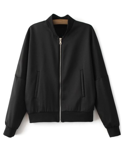 Lightweight Zip Bomber Jacket - BLACK M Mobile
