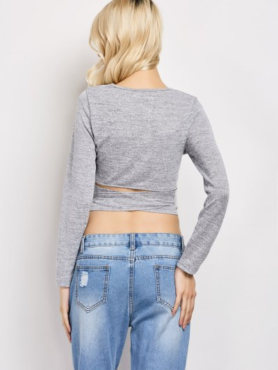 Long Sleeve Cropped Wrap Top - GRAY L Mobile