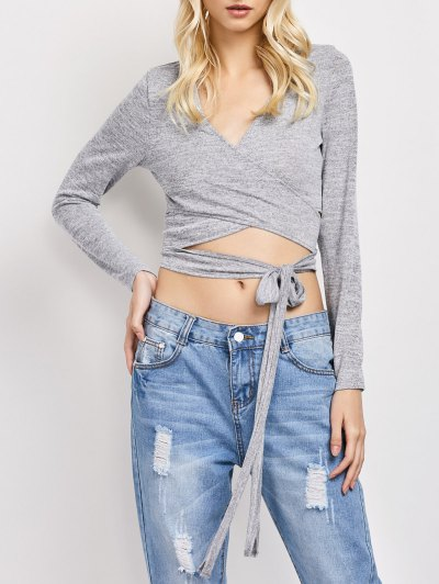 Long Sleeve Cropped Wrap Top - GRAY M Mobile