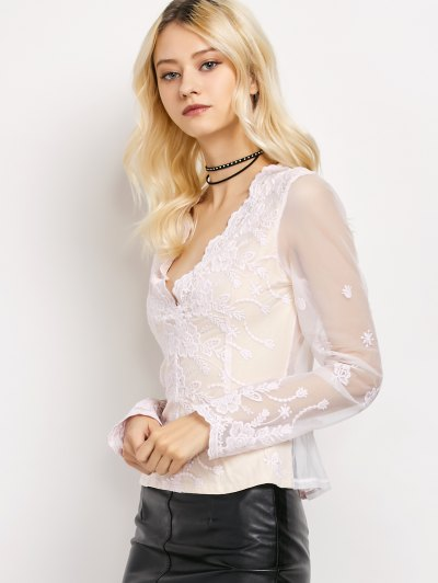 Long Sleeve Semi Sheer Lace Top - WHITE L Mobile