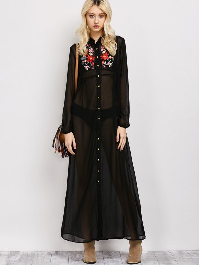 Embroidered Sheer Maxi Shirt Dress - BLACK S Mobile